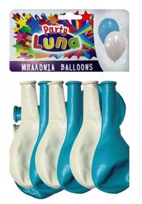 BALLOONS BLUE-WHITE PARTY LUNA