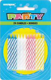 SPIRAL BIRTHDAY CANDLES 24pcs